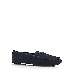 RJR.John Rocha - Navy suede faux fur moccasin slippers