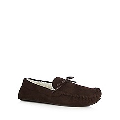 Maine New England - Dark brown suedette moccasin slippers in a gift box