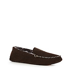 RJR.John Rocha - Brown suede moccasin slippers in a gift box