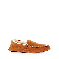 RJR.John Rocha - Tan suede moccasin slippers in a gift box