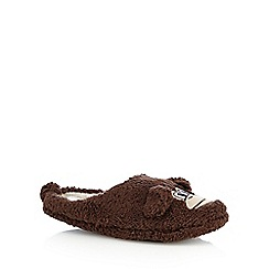 Mantaray - Dark brown monkey mule slippers