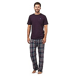 Mantaray - Purple t-shirt and checked bottoms loungewear set