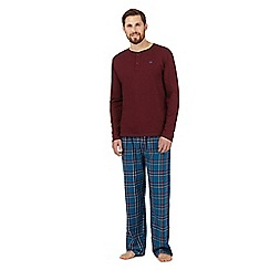 Mantaray - Dark red checked grandad top and bottoms pyjama set
