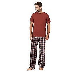Mantaray - Orange t-shirt and checked bottoms loungewear set