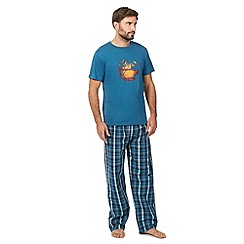 Mantaray - Turquoise sunset t-shirt and checked bottoms loungewear set