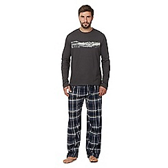 Mantaray - Dark grey mountain top and checked bottoms loungewear set
