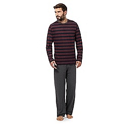 Maine New England - Big and tall wine striped jersey top and bottoms loungewear set