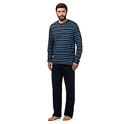 Maine New England - Big and tall navy striped top and bottoms jersey loungewear set