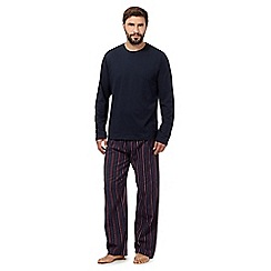Maine New England - Navy top and wine striped bottoms loungewear set
