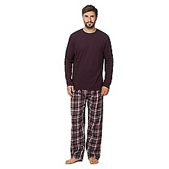Maine New England - Big and tall dark purple top and bottoms loungewear set