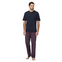 Maine New England - Dark red and navy t-shirt and striped print bottoms pyjama set