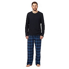Maine New England - Big and tall navy checked top and bottoms loungewear set