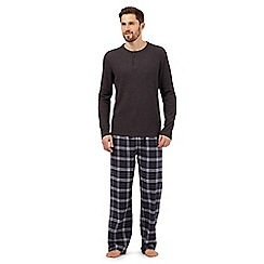 Maine New England - Big and tall grey checked pyjama tops and bottoms set