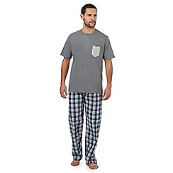 Maine New England - Big and tall grey t-shirt and multi-coloured checked print loungewear set