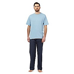 Maine New England - Blue pyjama t-shirt and navy square print bottoms set