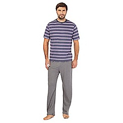 Maine New England - Purple striped pyjama t-shirt and grey bottoms set