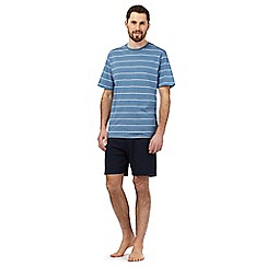 Maine New England - Blue striped print pyjama t-shirt and navy shorts set
