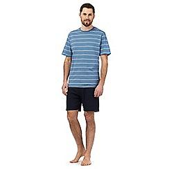 Maine New England - Blue striped print pyjama t-shirt and navy shorts set