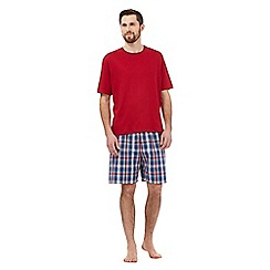 Maine New England - Big and tall red checked print pyjama top and shorts set