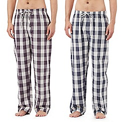 Mantaray - Big and tallpack of two blue checked print woven lounge bottoms