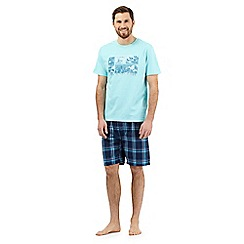 Mantaray - Big and tallturquoise scene print t-shirt and shorts loungewear set