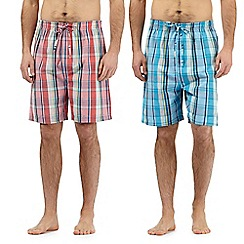 Mantaray - Big and tallpack of two navy checked print woven lounge shorts