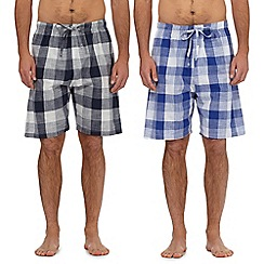 Mantaray - Pack of two navy and blue checked print lounge shorts