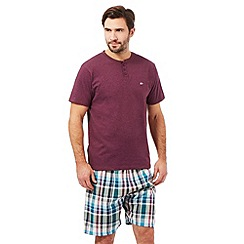 Mantaray - Purple checked print granddad t-shirt and shorts loungewear set