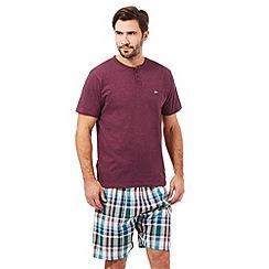 Mantaray - Purple checked print granddad t-shirt and shorts loungewear set