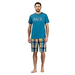 Mantaray - Big and tall turquoise surfboard lounge t-shirt and checked shorts set