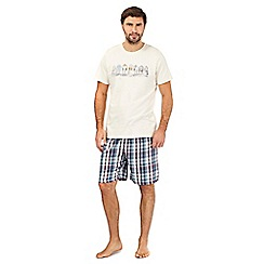 Mantaray - Cream beach hut print pyjama t-shirt and checked shorts set