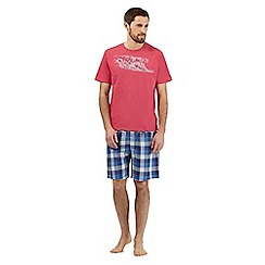 Mantaray - Big and tall red wave print lounge t-shirt and check shorts set