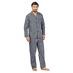 Maine New England - Navy checked print pyjama shirt and bottoms set