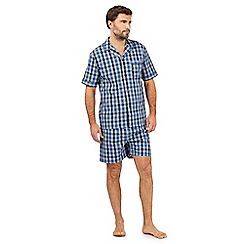 Maine New England - Blue checked print pyjama shirt and shorts set