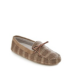 RJR.John Rocha - Beige brushed checked moccasin slippers