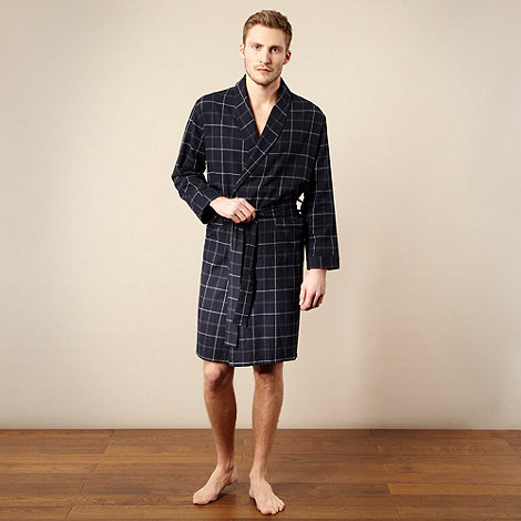 Maine New England - Navy checked grid dressing gown
