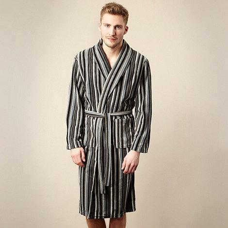 Maine New England - Grey striped fleece dressing gown