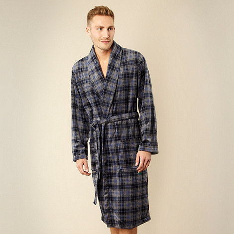Maine New England - Blue checked fleece dressing gown