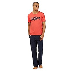 Tommy Hilfiger - Red and navy logo t-shirt and bottoms pyjama set