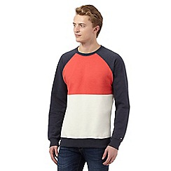 Tommy Hilfiger - Red colour block crew neck jumper