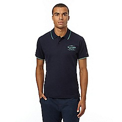 Tommy Hilfiger - Navy embroidered polo shirt