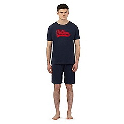 Tommy Hilfiger - Navy logo print pyjama t-shirt and shorts set