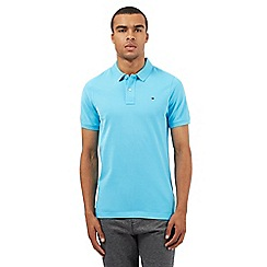 Tommy Hilfiger - Light blue embroidered logo polo shirt