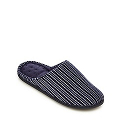 Totes - Navy striped mule slippers