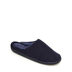 Totes - Navy waffle textured mule slippers