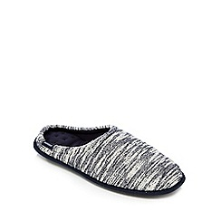 Totes - White and navy textured mule slippers