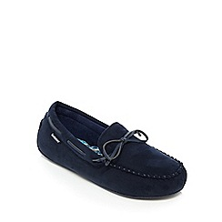 Totes - Navy moccasin slippers