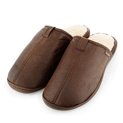 Totes - Brown distressed faux leather mules