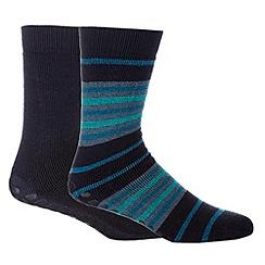 Totes - Pack of two navy slipper socks