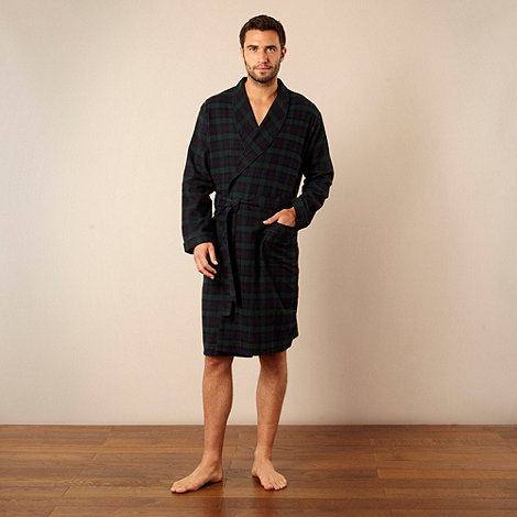 Maine New England - Dark green brushed checked dressing gown